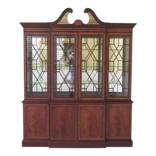Hickory-White Inlaid Mahogany 4 Door Breakfront For Sale