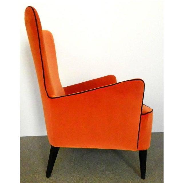 Pair of Italian Mid Century Modern Reupholstered Orange Velvet Armchairs, 1960s For Sale - Image 4 of 8