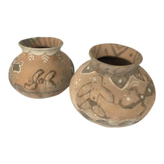 Primitive Terra Cotta Urns - A Pair