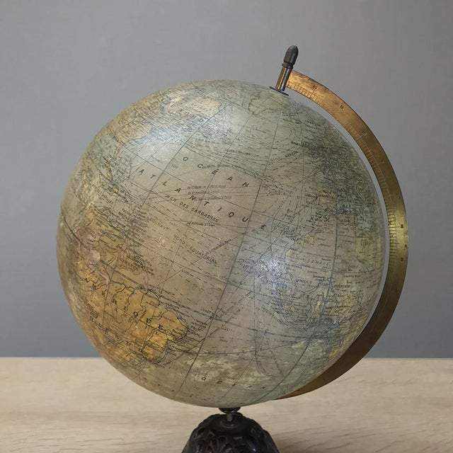 Antique French Paper MacheÕ World Globe on Painted Cast Iron Stand For Sale - Image 4 of 11