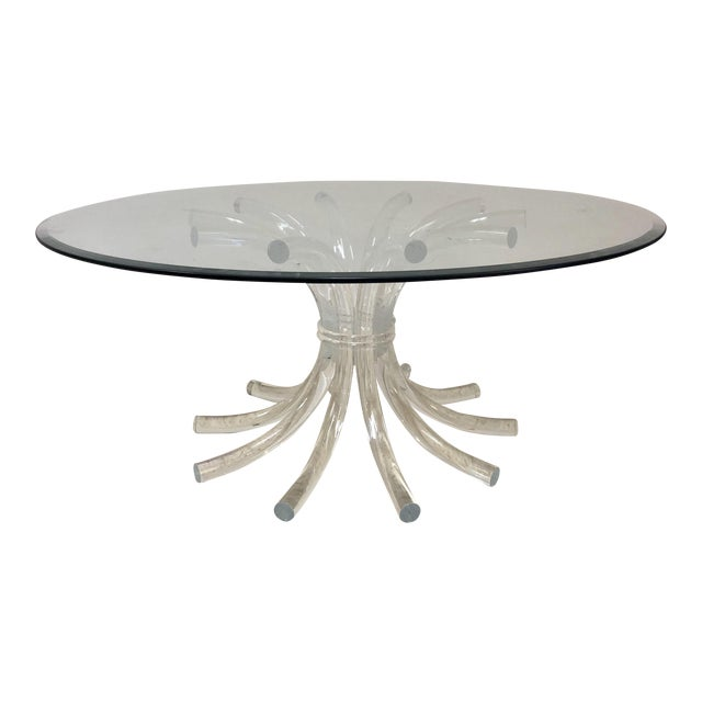 Lucite Wheat Sheaf Coffee / Cocktail Table For Sale