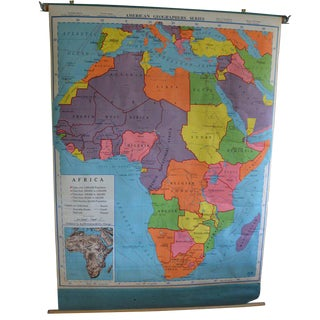 Schoolroom Geography Map of Africa, 1957 Edition For Sale