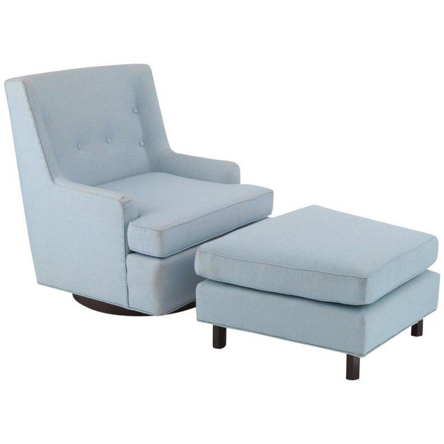 Turquoise Edward Wormley Dunbar Lounge Chair and Ottoman For Sale - Image 8 of 8