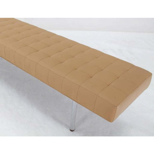 Tufted Upholstery Long Bench on Chrome Cylinder Legs Daybed For Sale In New York - Image 6 of 7