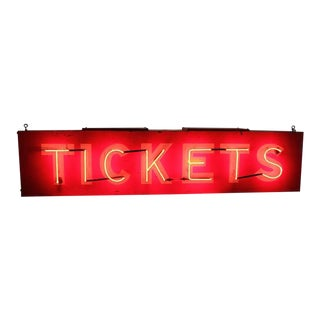 "1950s American ""Tickets"" Neon Sign For Sale"