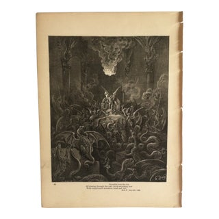 """Antique Paradise Lost Print """"Of Hissing Through the Hall - Thick Swarming Now - With Complicated Monsters - Head and Tail"""" For Sale"""
