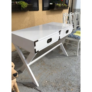 1960s Campaign White Gloss Writing Desk Preview