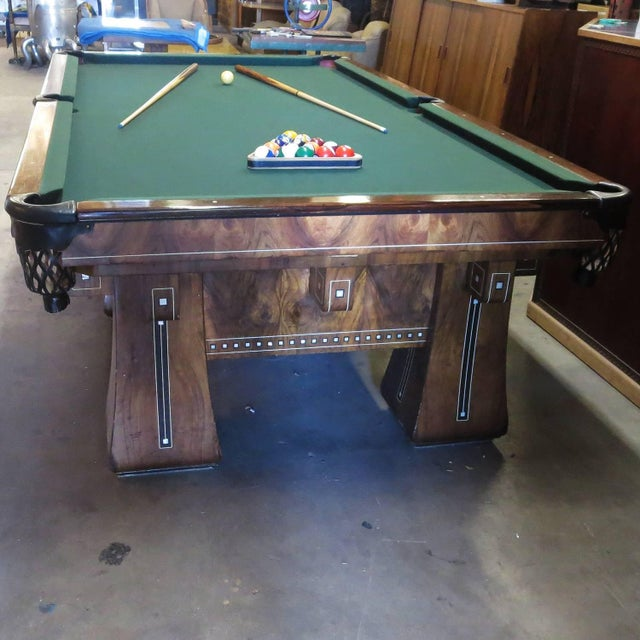 American 1915 Brunswick Arcade Pool Table With Rare Six-Legged Base For Sale - Image 3 of 9