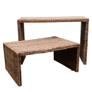 Wicker Console & Coffee Table - a Pair For Sale