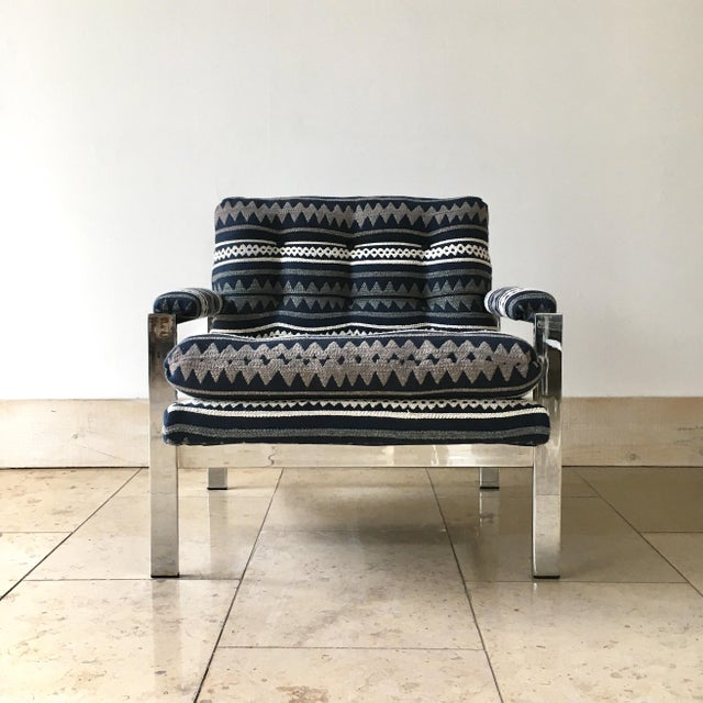 1970s Pair of Chrome Framed Armchairs by Cy Mann 1970s For Sale - Image 5 of 9