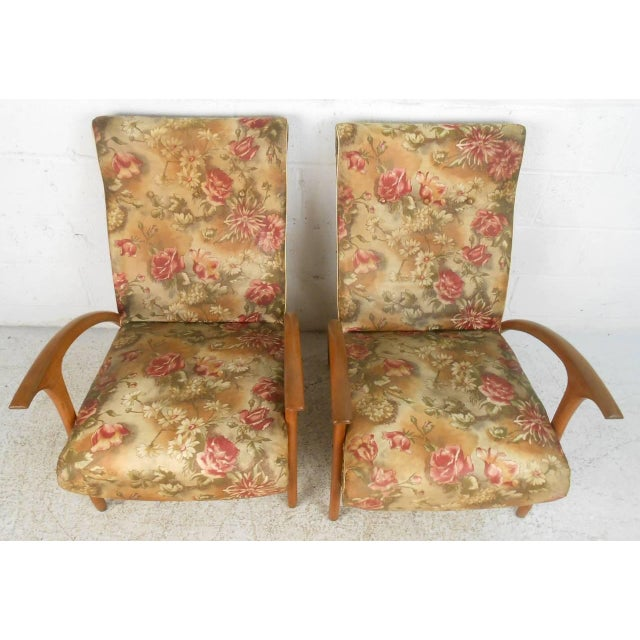 Textile Mid-Century Modern Armchairs - A Pair For Sale - Image 7 of 9