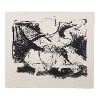 1973 Vintage Jeffrey Plate Abstract Expressionist Lithograph Print For Sale
