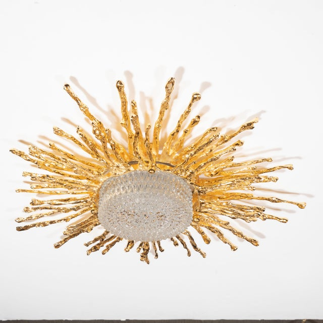 Late 20th Century Vintage Claude Boeltz Exploded Bronze and 24-Karat Gold Sunburst Flush Mount Chandelier For Sale - Image 5 of 12