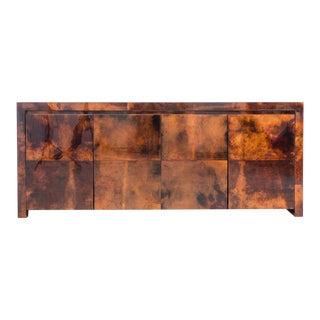 Royal Palm Lacquered Goatskin Credenza, Usa For Sale