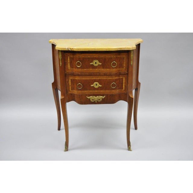 French Louis XV Style Inlaid Marble Top Bombe Nightstand For Sale - Image 10 of 11
