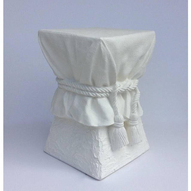 John Dickinson Attributed Draped Plaster Side Table Pedestal For Sale - Image 11 of 11