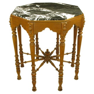 Eight-Leg Walnut and Marble Eastlake Center Table For Sale