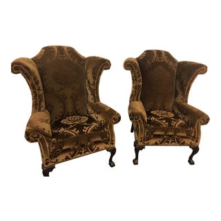 Vintage Hancock & Moore King George III Wingback Chairs- a Pair For Sale