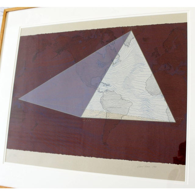 """1980s 1980s Abstract Framed Lithograph 5/50 """"Four Corners Project - World View"""" Print by David Barr For Sale - Image 5 of 10"""