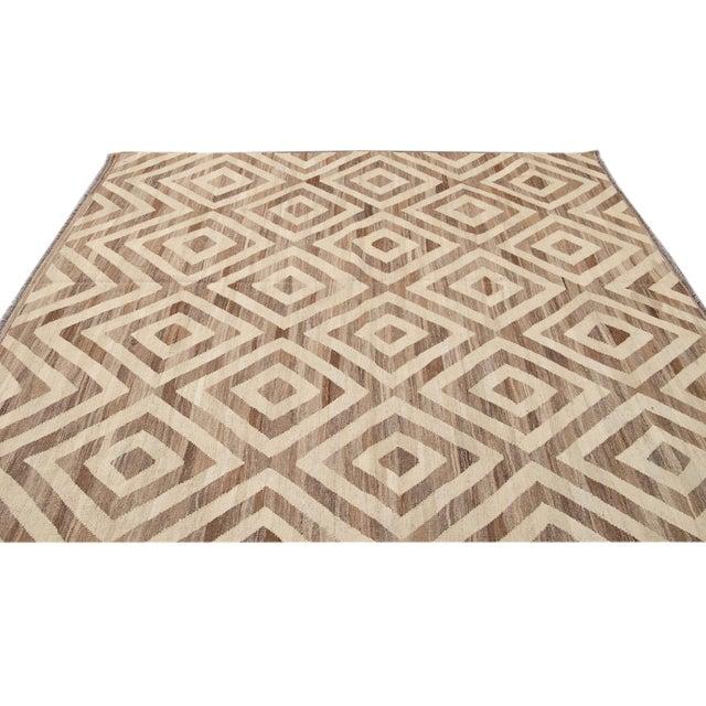 Beige 21st Century Modern Kilim Wool Rug For Sale - Image 8 of 12