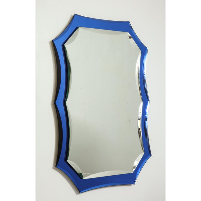 1950s Vintage Mid-Century Modern Mirror With Cobalt Blue Borders For Sale - Image 5 of 7