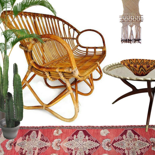 Mid Century Bamboo Settee, Iconic Bamboo Sofa / Love seat in the style of the Infamous Franco Albini. This is an...