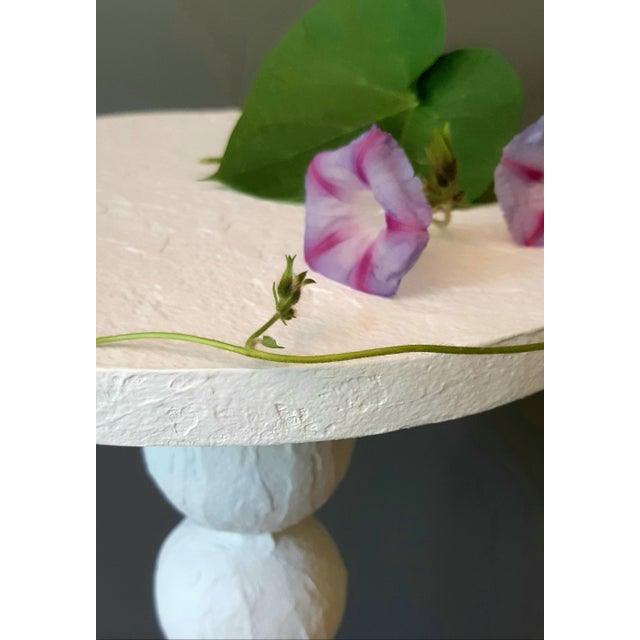 Contemporary Modern Artisan Carnival White Accent Table For Sale - Image 3 of 5
