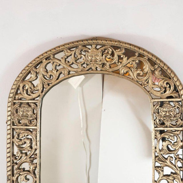 Art Deco Art Deco Gilded Bronze Arabesque Arch Form Mirror in the Manner of Edgar Brandt For Sale - Image 3 of 7