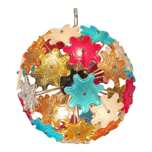 Murano Multicolored Floral Sputnik Chandelier, 1970 For Sale