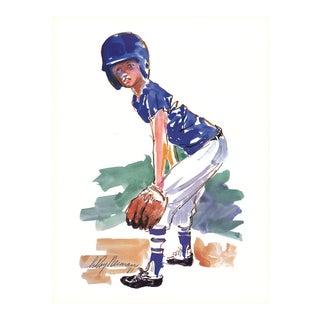 "Leroy Neiman Little Fielder 32"" X 24"" Poster Expressionism Blue For Sale"