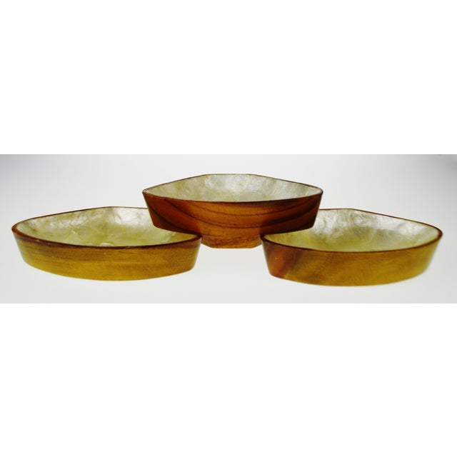 Mid Century Monkey Pod Wood and Capiz Shell Snack Bowls - Image 9 of 11