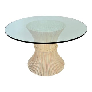 McGuire Wheat Sheaf Bamboo Rattan Dining Table With Thick Round Glass Top Organic Mid Century Modern MCM Millennial