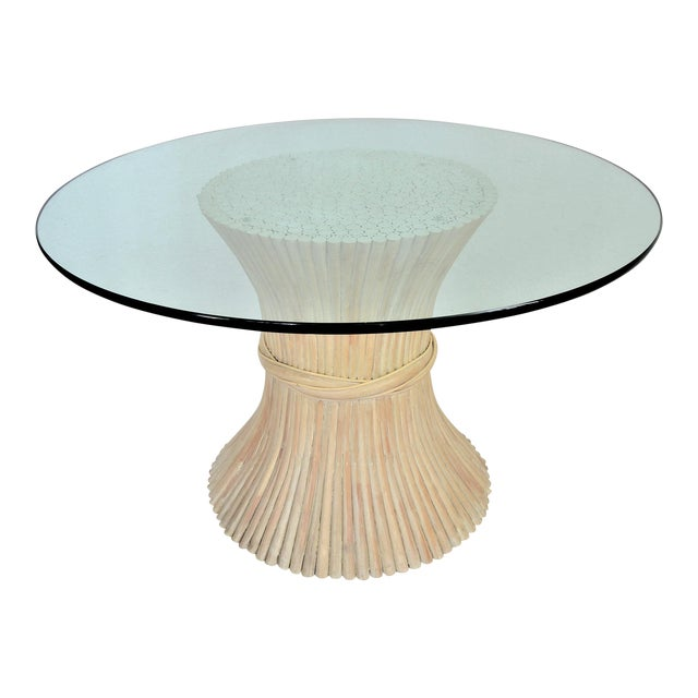 McGuire Wheat Sheaf Bamboo Rattan Dining Table With Thick Round Glass Top Organic Mid Century Modern MCM Millennial For Sale