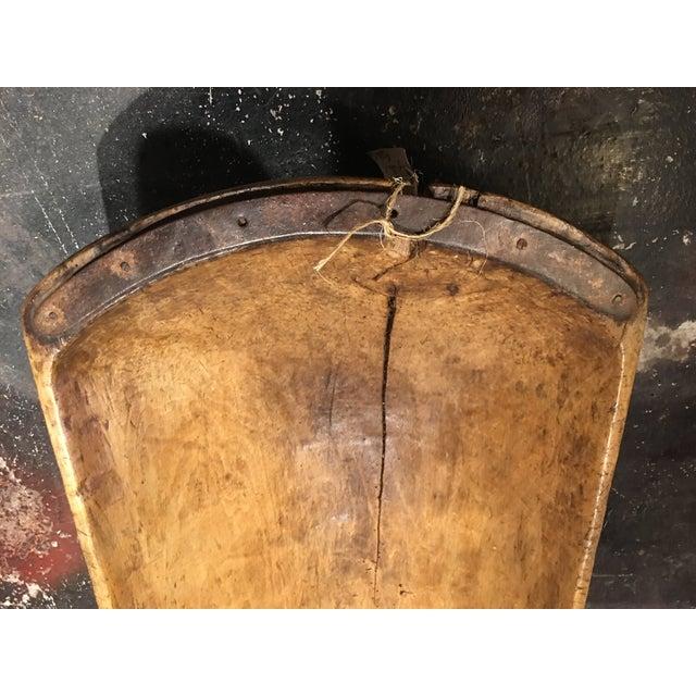 Metal Antique Wooden Dough Bowl For Sale - Image 7 of 13