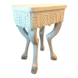 H. D. Buttercup White Carved Pegasus Side Table