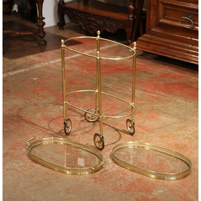 Gold Early 20th Century, French Oval Brass Dessert Table or Bar Cart on Wheels For Sale - Image 8 of 9