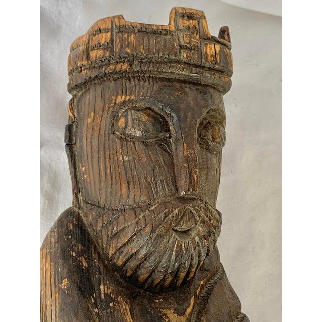 Brown Vintage Hand Carved Wooden King Sculpture For Sale - Image 8 of 11