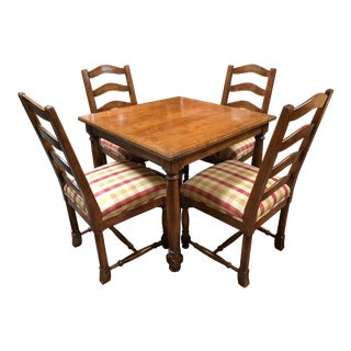 English Traditional Sterling Collection Game Table and Chairs For Sale