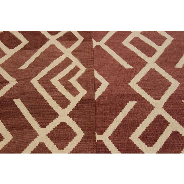 Textile Modern Bauhaus Annabell Brown/Ivory Hand-Woven Kilim Wool Rug - 6'10 X 9'8 For Sale - Image 7 of 8