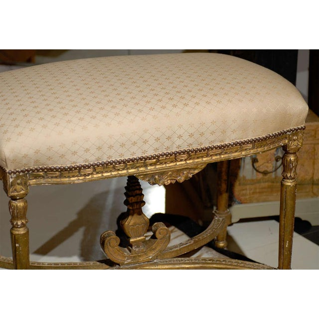 Oversized Louis XVI Gilded Stool For Sale - Image 4 of 7