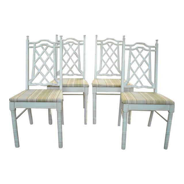 Vintage Faux Bamboo Dining Chairs - Set of 4 - Image 1 of 9