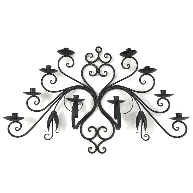 Custom Made Wrought Iron Wall Candelabra - Image 2 of 7