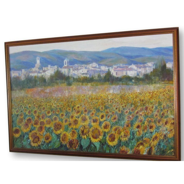 Details: Large scale original oil painting of a Tuscan landscape featuring a foreground of dense sunflower fields signed...