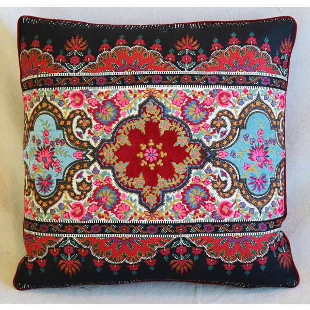 """English Traditional Pierre Frey French Embroidered Feather/Down Pillows 18"""" Square - Pair For Sale - Image 3 of 13"""