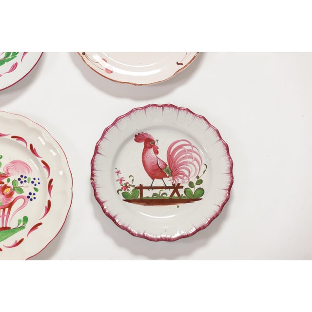1940s 6 Piece Rooster Themed Pottery Plates For Sale - Image 5 of 8