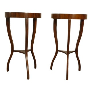 Chippendale Round Topped Side Tables With Lower Shelves - a Pair For Sale