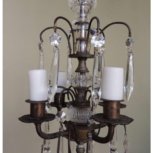 Italian Early 20th C Italian Brass and Crystal Petite Chandelier For Sale - Image 3 of 6