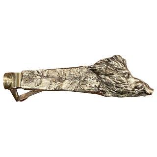 Antique Austrian Silver Plated Wild Boar Motif Cigar Cutter For Sale