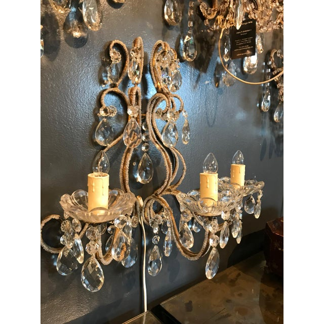 Italian Beaded Gold Leaf Sconce For Sale - Image 4 of 8
