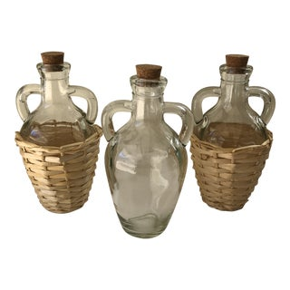 Wicker Wrapped Demijohn Bottles - Set of 3 For Sale
